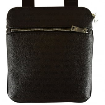 Armani Jeans Brown Grained Leather Body Bag
