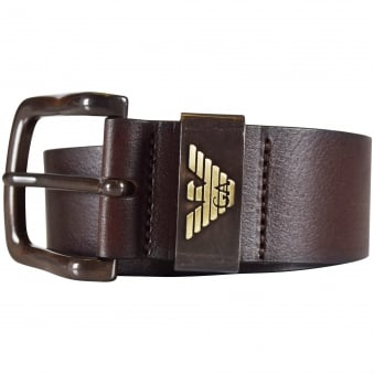 Armani Jeans Brown Leather Belt