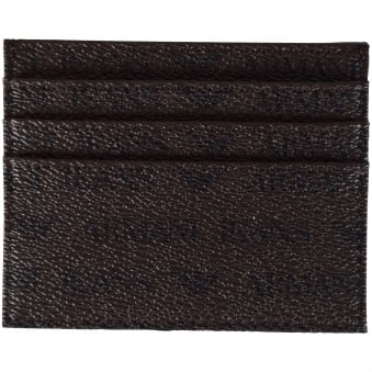 Armani Jeans Brown Leather Print Card Holder