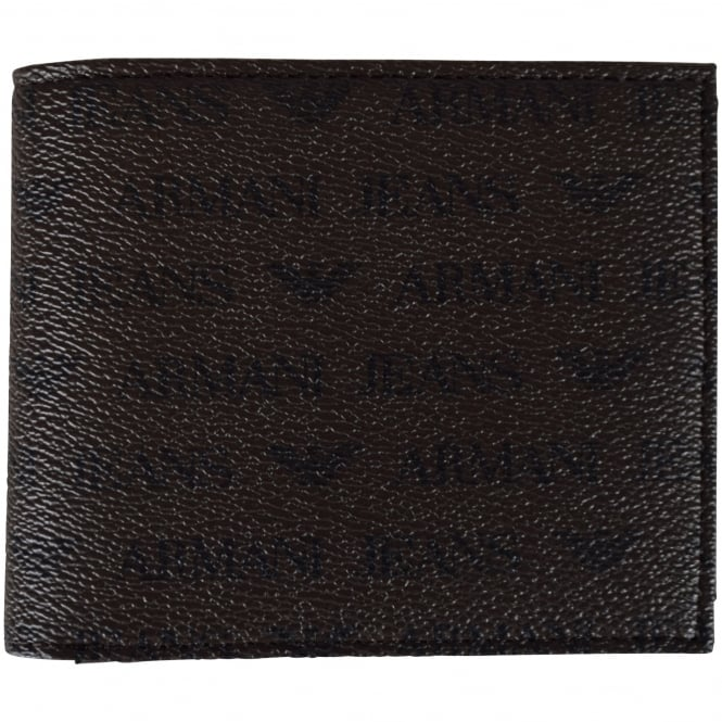 ARMANI JEANS Brown Leather Print Wallet