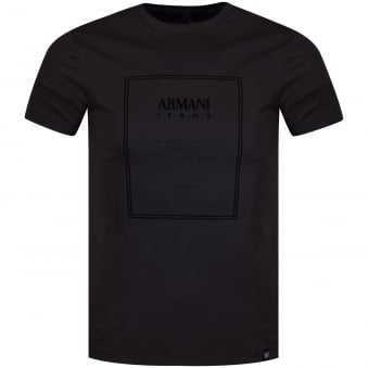 Armani Jeans Charcoal/Black Border Logo T-Shirt