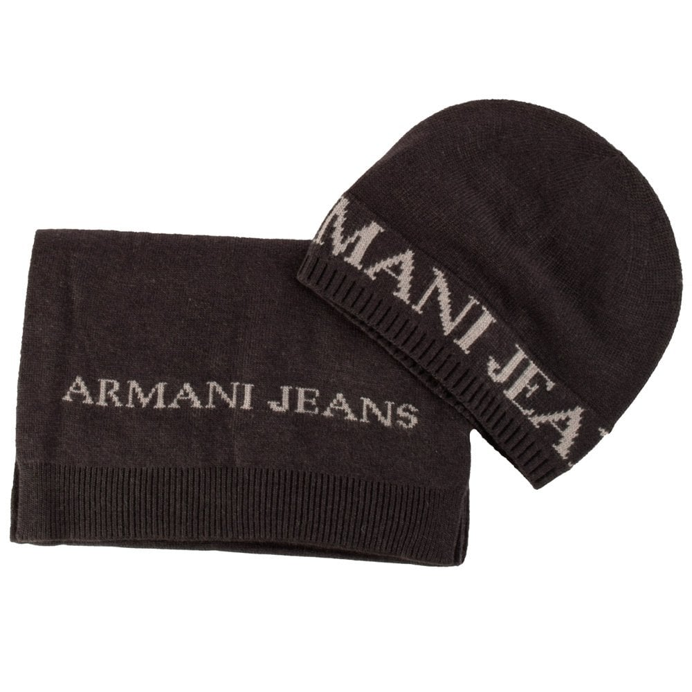 EMPORIO ARMANI Armani Jeans Charcoal Grey Beanie Scarf Gift Set ... bc0d1162ccb