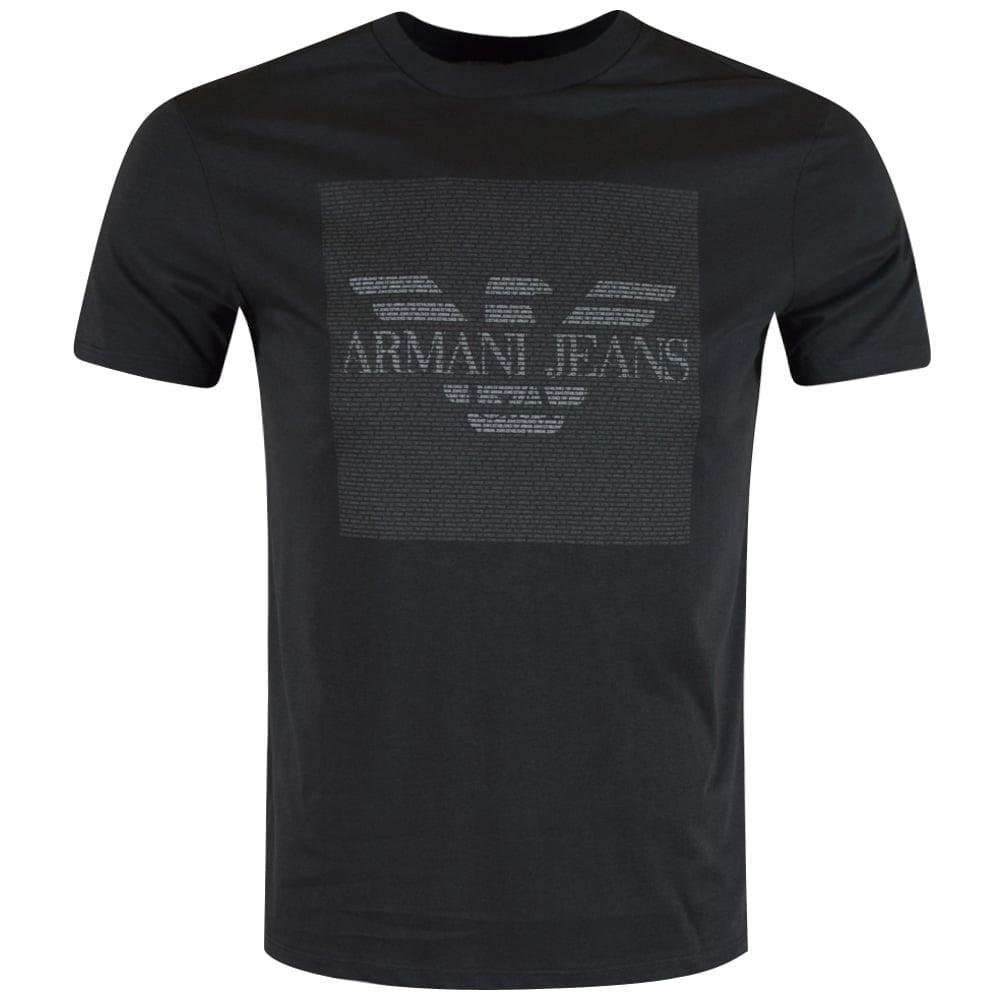 b83bafba Armani Jeans Charcoal Micro Text T-Shirt