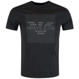 Armani Jeans Charcoal Micro Text T-Shirt
