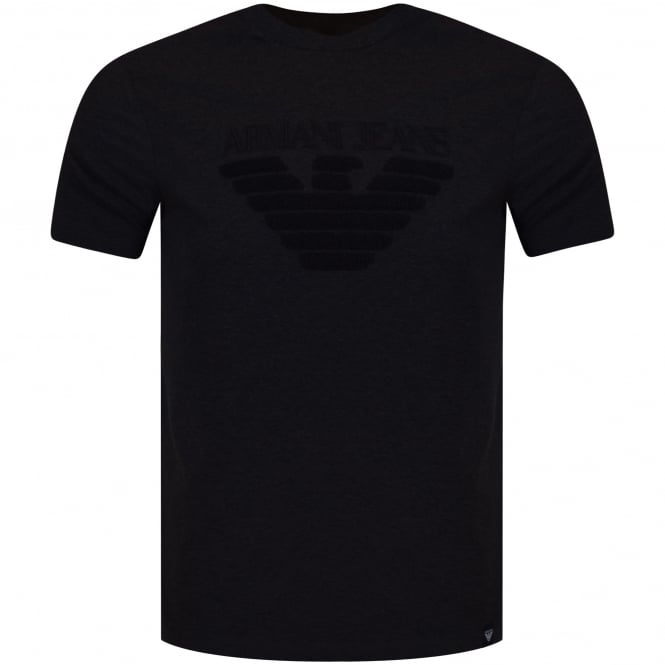 ARMANI JEANS Charcoal Toweled Logo T-Shirt