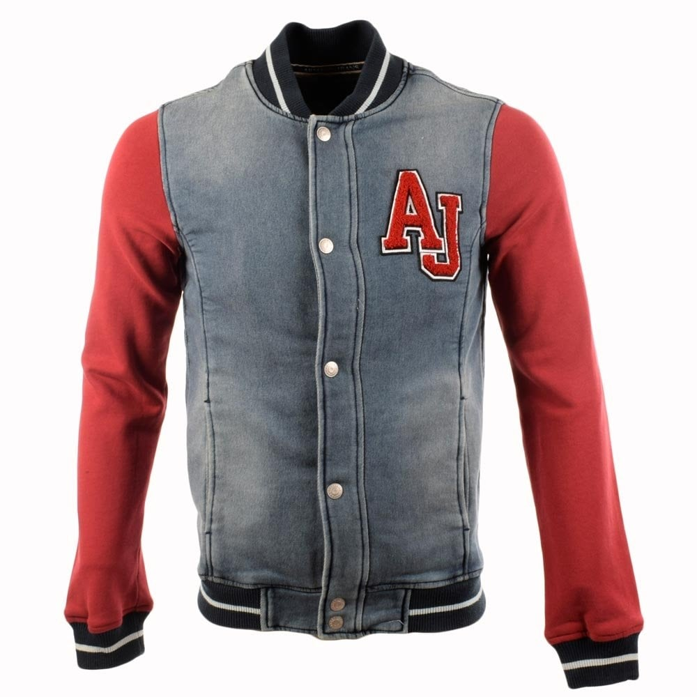 latest fashion buy best release date: Armani Jeans Denim Towel Mix Bomber Jacket