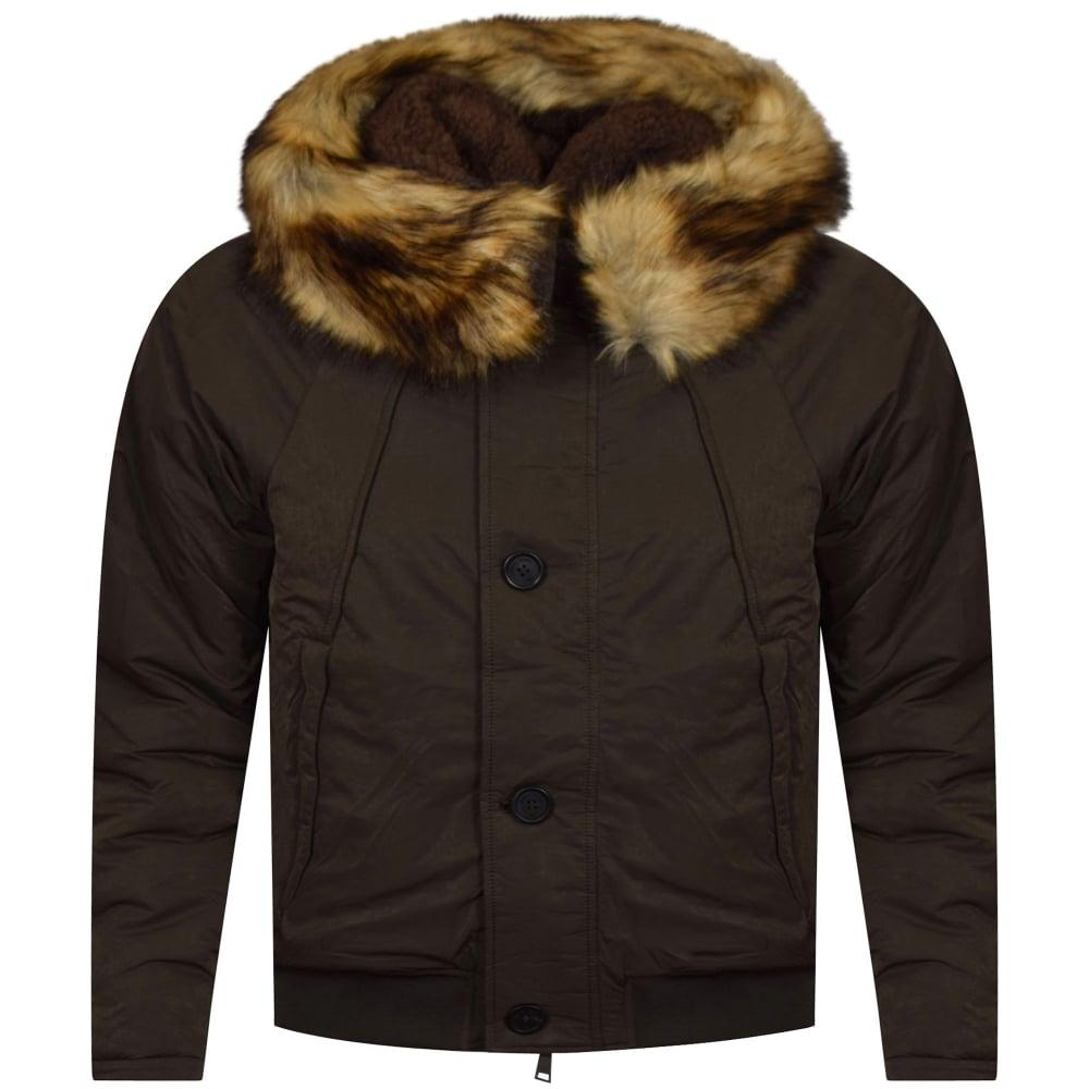 EMPORIO ARMANI Armani Jeans Green Faux Fur Trim Hooded ...