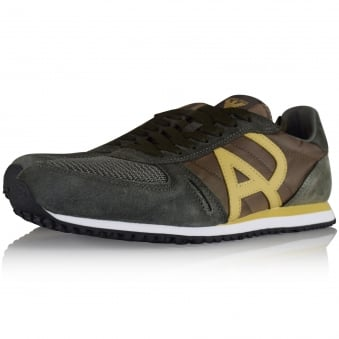 Armani Jeans Green Suede/Mesh Side Logo Trainers