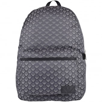 Armani Jeans Grey/Black Multi Print Logo Backpack