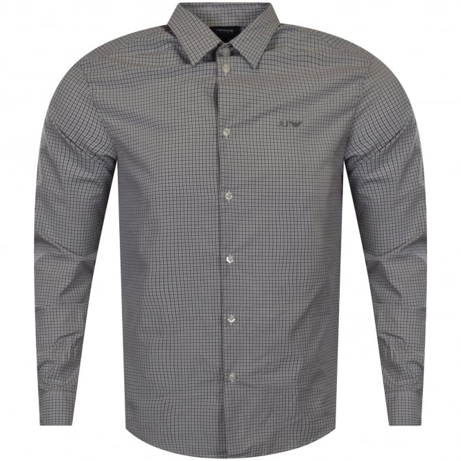 ARMANI JEANS Grey Checked Long Sleeved Shirt