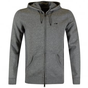 Armani Jeans Grey Classic Logo Zip Through Hoodie