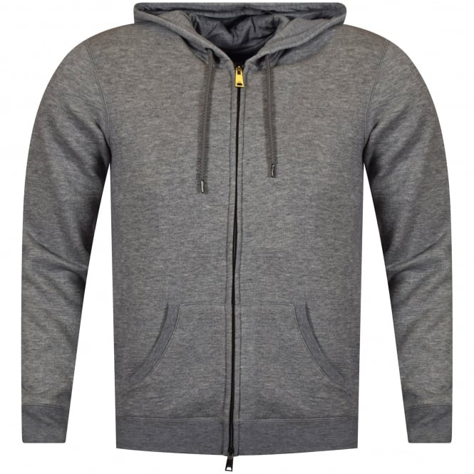ARMANI JEANS Grey Hood Text Zip Up Hoodie
