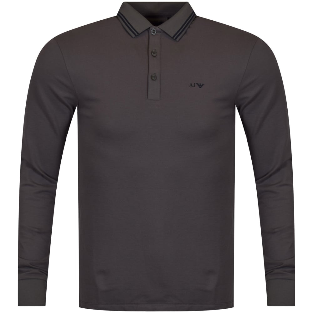 e71d4a1fa9b8 EMPORIO ARMANI Armani Jeans Grey Long Sleeved Polo Shirt - Men from ...