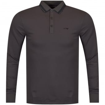 Armani Jeans Grey Long Sleeved Polo Shirt
