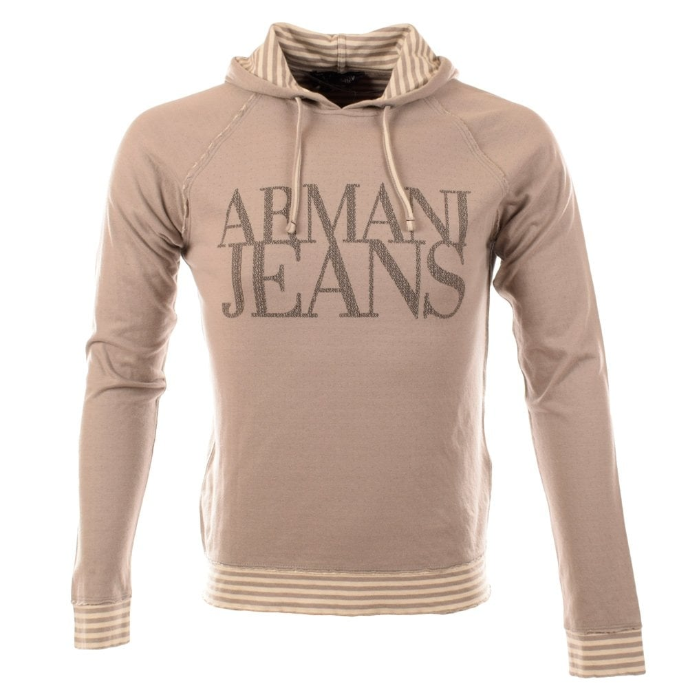 EMPORIO ARMANI Armani Jeans Grey Text Print Hoodie - Men from ... 83b8c4f6c