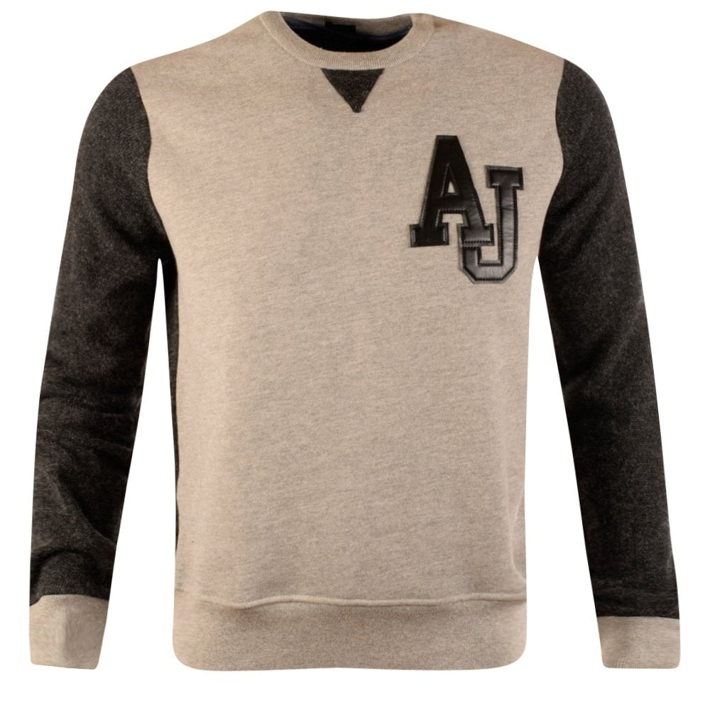 89cc589a6f158 EMPORIO ARMANI Armani Jeans Grey Wool Charcoal Sleeve Sweatshirt ...