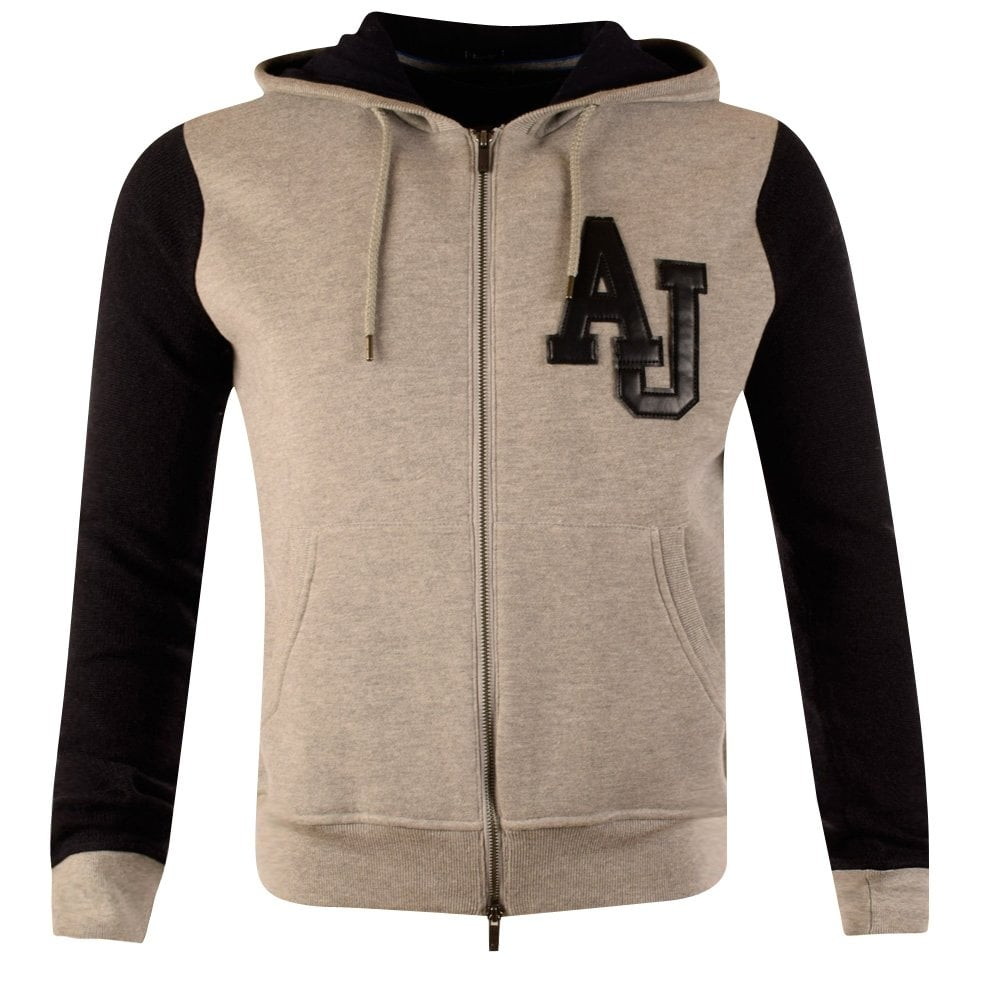 e0869a8c46 Armani Jeans Grey Wool Navy Sleeve Hoodie
