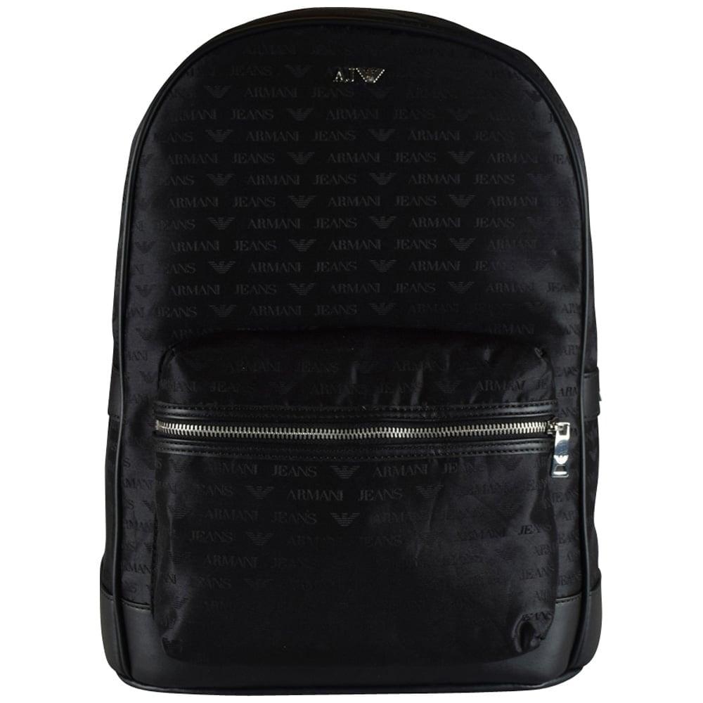 EMPORIO ARMANI Armani Jeans Large Black Nylon All over Logo Backpack ... 0fcd430679feb