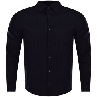 Armani Jeans Navy/Black Check Linen Shirt