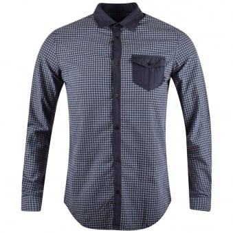 Armani Jeans Navy Check Contrast Long Sleeve Shirt