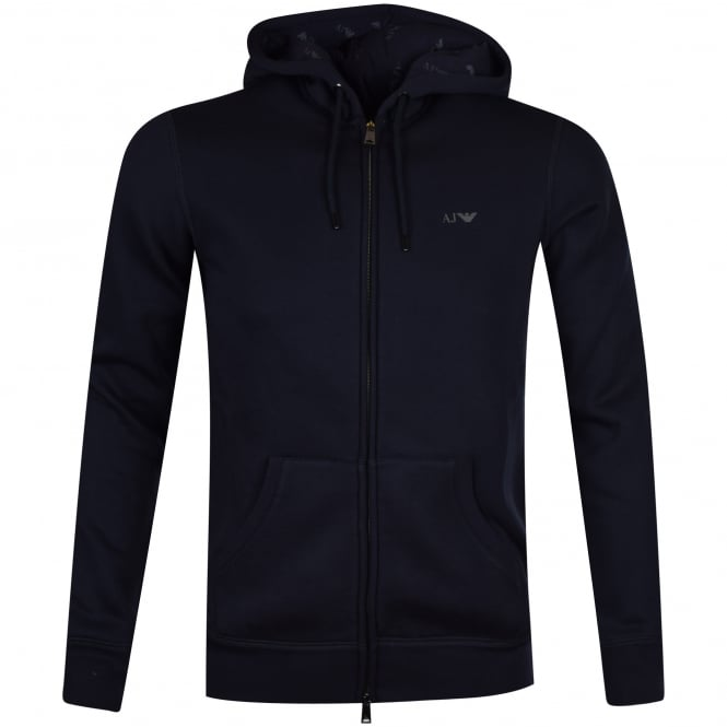 EMPORIO ARMANI Armani Jeans Navy Classic Logo Zip Through Hoodie