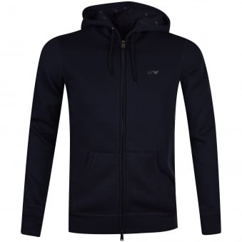 Armani Jeans Navy Classic Logo Zip Through Hoodie