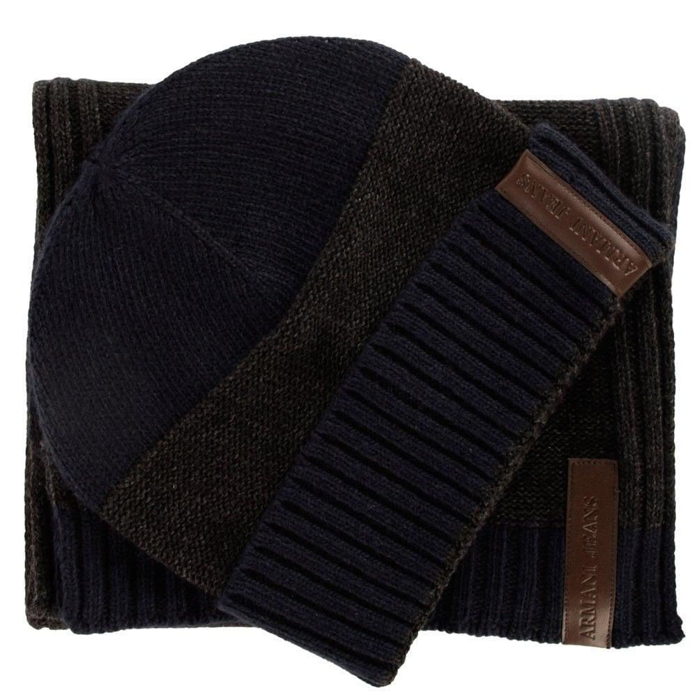 dbd5949c9b4 EMPORIO ARMANI Armani Jeans Navy Grey Knitted Scarf   Hat Gift Set ...