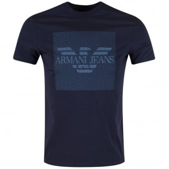 Armani Jeans Navy Micro Text T-Shirt