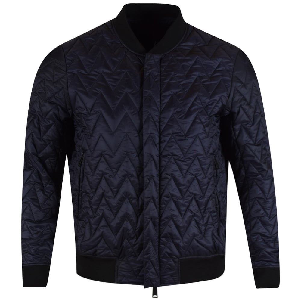 ARMANI JEANS Armani Jeans Navy Quilted Bomber Jacket - Men from ... : armani jeans quilted jacket - Adamdwight.com