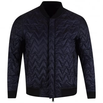 Armani Jeans Navy Quilted Bomber Jacket