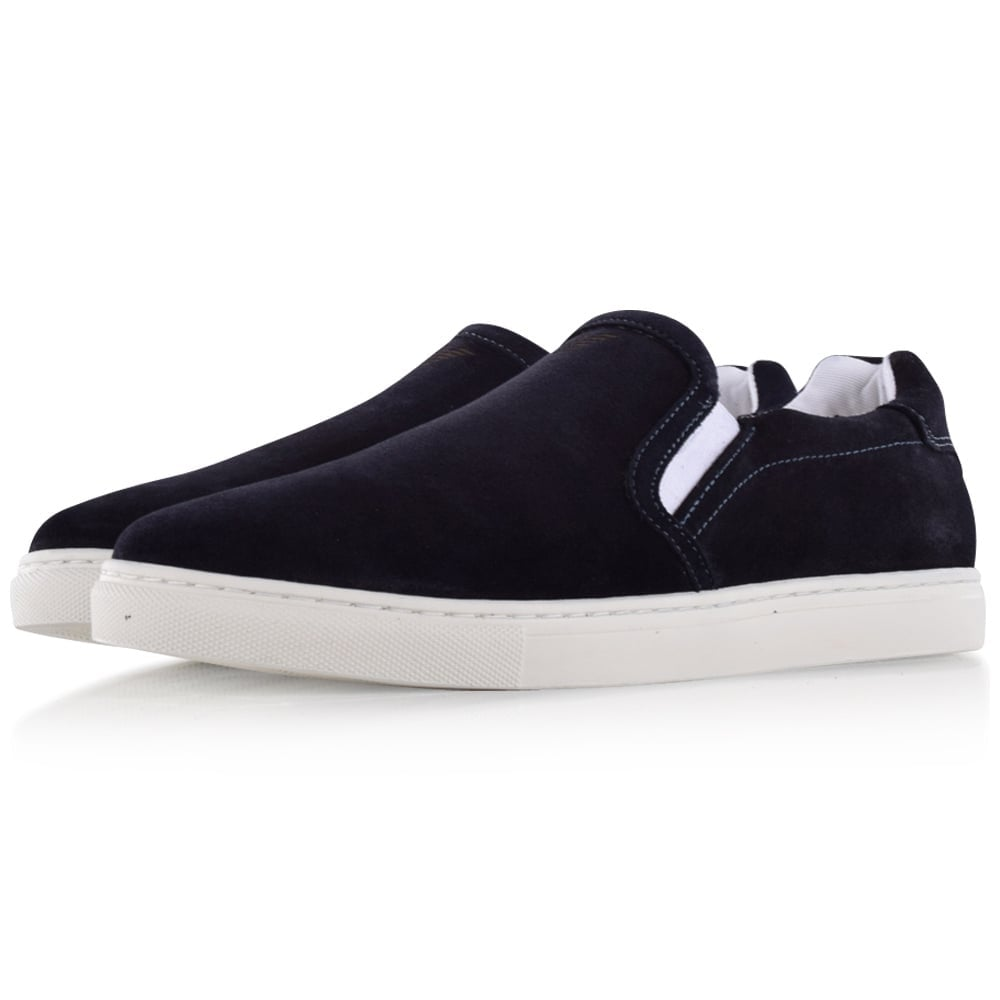 eefeeb6d51 Armani Jeans Navy Suede Slip On Trainers