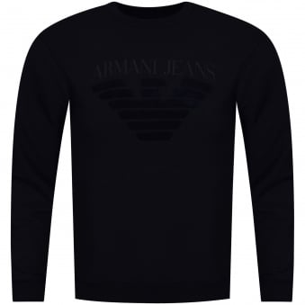 Armani Jeans Navy Toweled Logo Sweatshirt