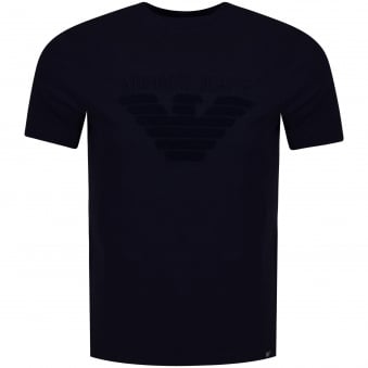 Armani Jeans Navy Toweled Logo T-Shirt