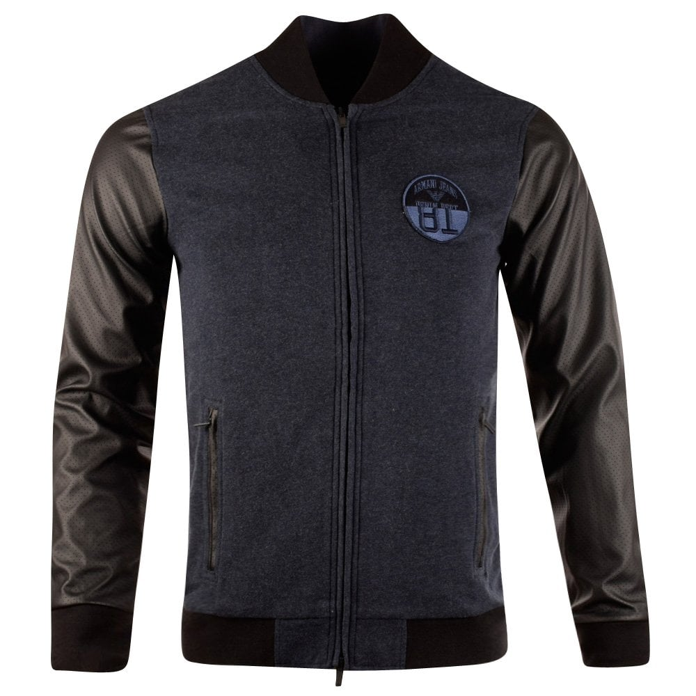 8a091ea0f Armani Jeans Navy Wool Leather Sleeves Bomber Jacket