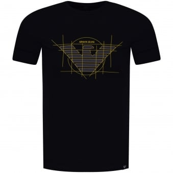 Armani Jeans Navy/Yellow Template Logo T-Shirt