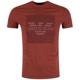 Armani Jeans Red Micro Text T-Shirt