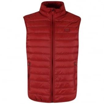 Armani Jeans Red Quilted Logo Gilet