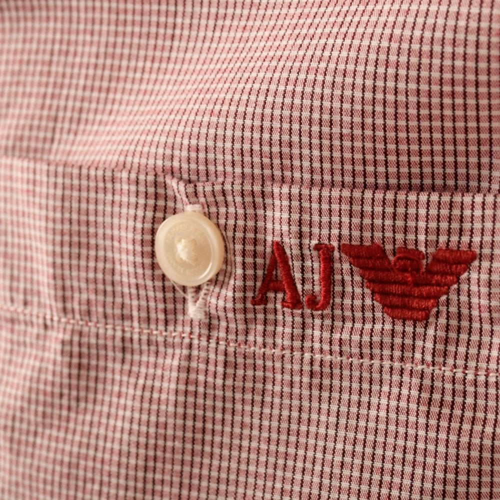Jeans Short Shirt Red Emporio Checked Armani Sleeve White Pwq0InU5xI