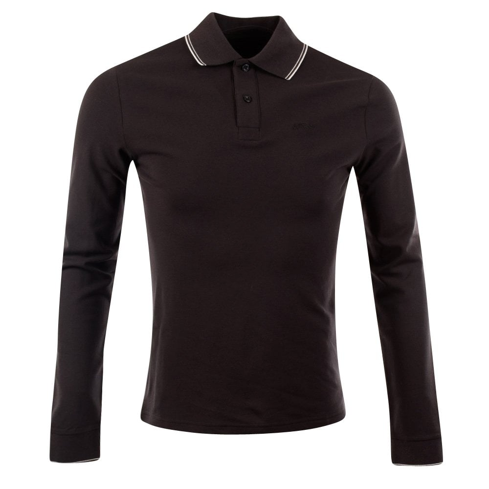 bd0558db EMPORIO ARMANI Armani Jeans Slim Fit Long Sleeve Navy Polo Shirt ...