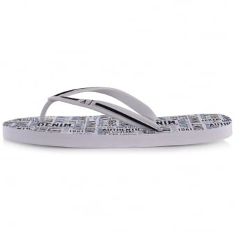 Armani Jeans White All Over Logo Flip Flops