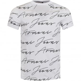 Armani Jeans White & Black Signature Text T-Shirt