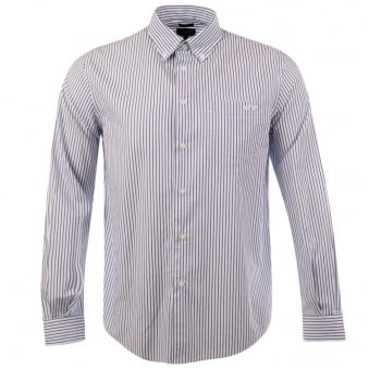 Armani Jeans White Blue Vertical Stripe Long Sleeve Shirt