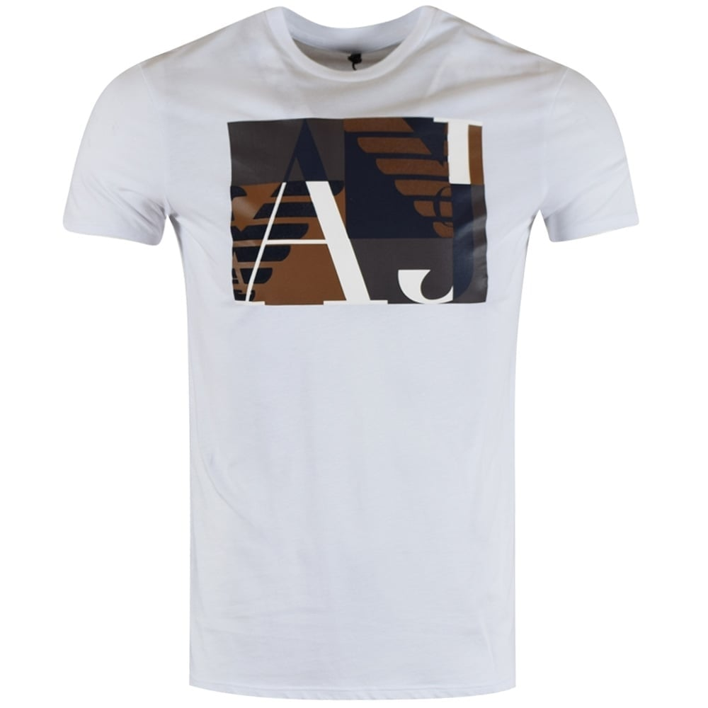 b84bcd90 EMPORIO ARMANI Armani Jeans White Collage Logo T-Shirt - Department ...
