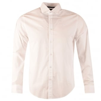Armani Jeans White Custom Fit Long Sleeve Shirt