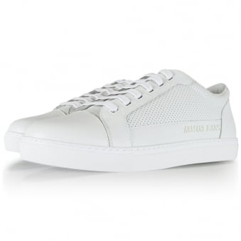 Armani Jeans White Leather Laced Trainers