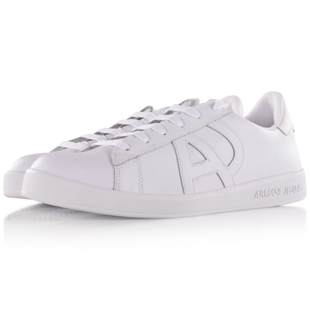 bac17014b1a6f EMPORIO ARMANI Armani Jeans White Leather Logo Trainers - Men from ...