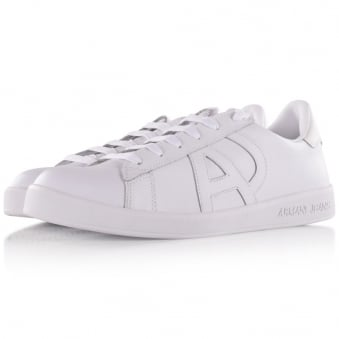 Armani Jeans White Leather Logo Trainers