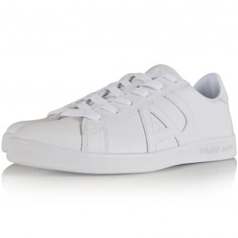 Armani Jeans White Leather Side Logo Trainers
