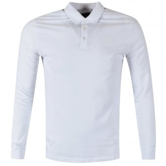 Armani Jeans White Long Sleeved Polo Shirt