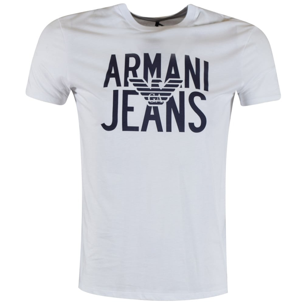 1cfd17bb EMPORIO ARMANI Armani Jeans White Text Logo T-Shirt - Department ...